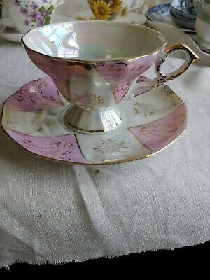 Vintage irridescent Tea Cup Saucer pink gold white geometric shape