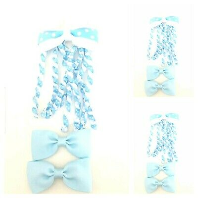 Handmade Girls School Hair Accessories Set Light Blue And White Spot (SALE)