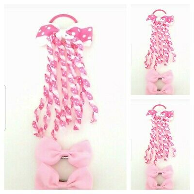 Handmade Girls Hair Accessories Set Pink And White Spot (SALE)