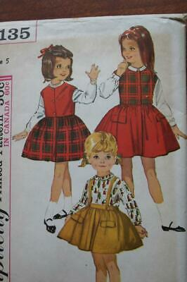 Simplicity 5135 Vintage Girls Skirt Suspenders Blouse Weskit Pattern Size 5