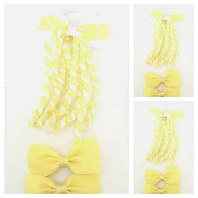 Handmade Girls School Hair Accessories Set Yellow And White Spot ( SALE )