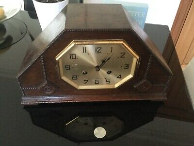 Vintage Unusual Large Wood Wooden Mantle Clock & Key 38 x 22 x 13 cm / 2.5 KGS