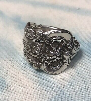 Wallace Grande Baroque Sterling Spoon Ring Handcrafted Artisan Extra Large