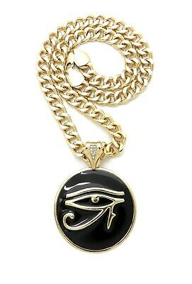 "EGYPTIAN EYE OF HERU DESIGN PENDANT WITH 9mm 18"" CUBAN CHAIN"