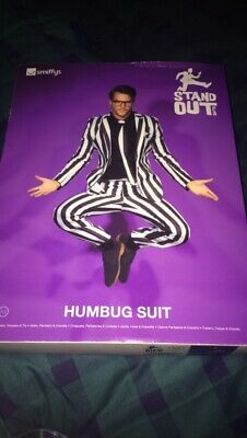 Adult Mens Humbug Stand Out Suit Striped Novelty Christmas Costume Beetlejuice