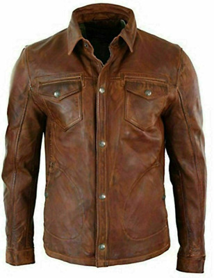 Men's Antique Brown Shirt Style Vintage Motorcycle Soft Real Leather Jacket