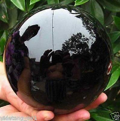 80MM+stand Natural Black Obsidian Sphere Large Crystal Ball Healing Stone .#9
