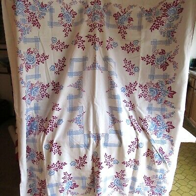 Vintage Cotton Tablecloth No Tags Blue Floral Country  1940's 50's