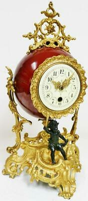 Antique German Lenzkirch Porcelain Bowl & Gilt Metal 8 Day Tic Tac Mantel Clock