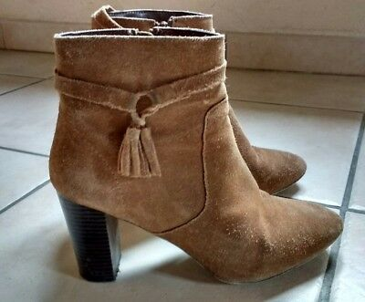 Promod suédine chaussures BOTTES cuir marron BOTTINES BOOTS OkiuTZXwP