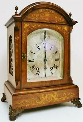 Antique Lenzkirch 8 Day Musical Ting Tang Chime Marquetry Inlaid Bracket Clock