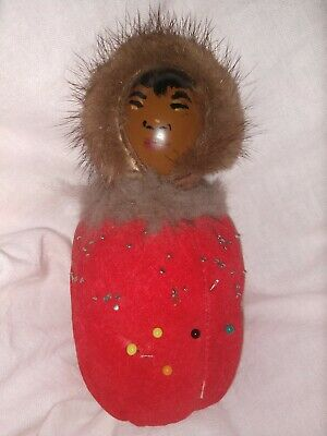 "Vintage Eskimo Inuit Doll Alaska Fur Good Painted Face5-1/2"" tall"