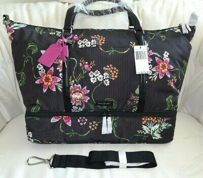 VERA BRADLEY Large Midtown Travel Bag Tote - Airy Floral - Black Brown - NWT