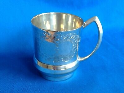 Vintage Or Antique 1/4 Pt. silver Plated Tankard With Ornate Engraving