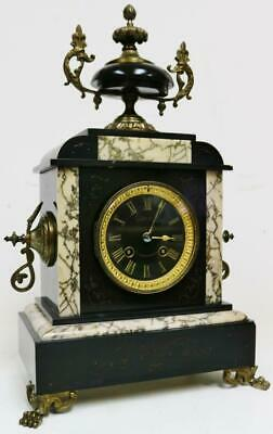Antique French 8 Day Slate, Cream Marble & Bronze Bell Striking Mantel Clock