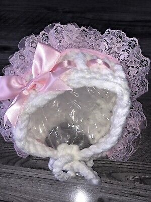 Brand New Hand Crochet Baby Girls Hats Age 0/3 Months White