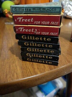 8 Vintage Antique Gillette shaving razor blade safety blades  Treet double edge