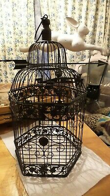 Vintage Victorian/Steampunk Style Large Black Bird Cage