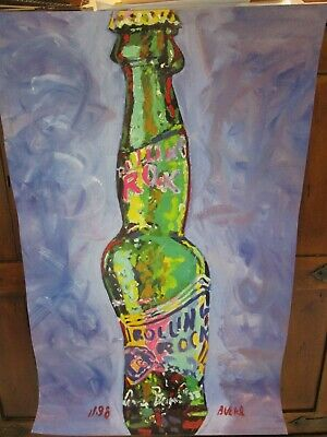 """1999 Rolling Rock Poster Latrobe Brewing Looks Like Painted Canvas 22"""" x 35"""""""