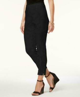 JM Collection Pull-On Ankle-Zip Pants black size large