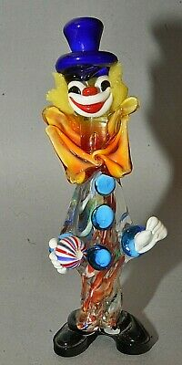 "Vintage Italian Murano Multicolored Glass Clown Figurine Cobalt Top Hat 10"" Tall"