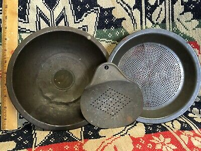 3 Antique Tin Strainers Bowl, Pan, Skimmer for Milk, Cheese, Gold Panning, etc.