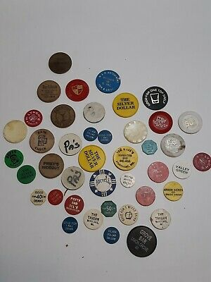 Vintage Beer Whiskey Tokens 41 Pastic And Cardboard From Wisconsin Bars