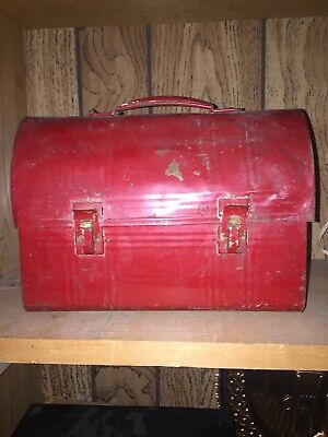 Antique Red Lunch Box Tin Early 1930-60's Americana