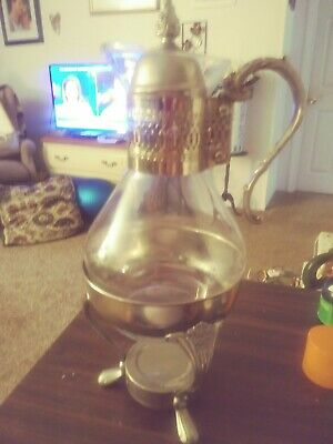 Vintage Rogers&brother silver Plated & Glass Coffee Carafe Pot with Warmer Stand