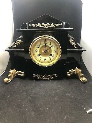 Antique Black Waterbury Clock Company Mantel Clock