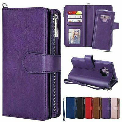 Samsung Galaxy S10 Plus S9 S8 Note 10 Removable Zipper Case Leather Wallet Cover