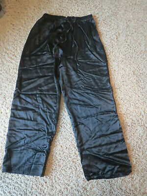 Vintage 80's/90's Paris Sports Club Black shiny drawsting pants, Women's medium
