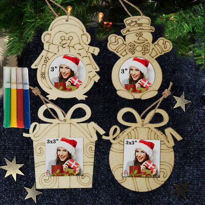 Christmas Wooden Photo Frame Wood Hanging Picture Holder Home Bedroom Decoration