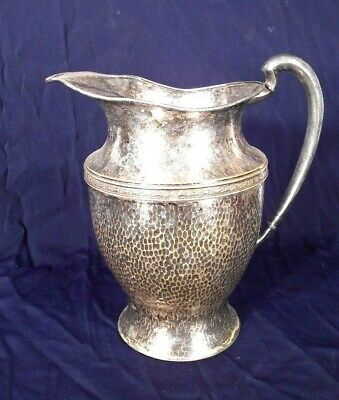 Vintage Hand Hammered Silverplate Over Copper Water Pitcher