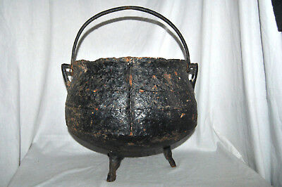 ANTIQUE Large Cauldron Three Footed Cast Iron Handled