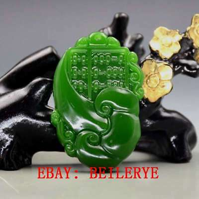 Chinese Natural Green Hetian Jade Hand-carved Ruyi Pendant BY52