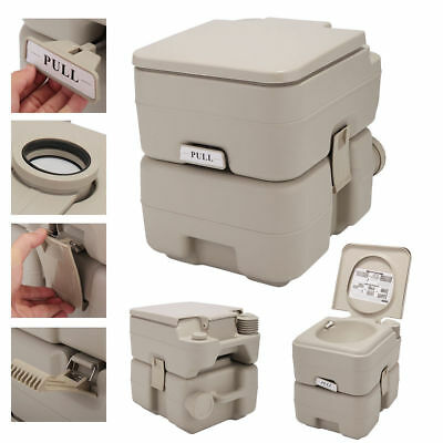 5 Gallon 20L Toilet Flush Travel Camping Commode Potty Outdoor/Indoor Gray
