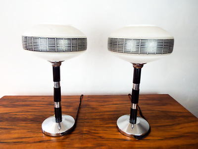 Vintage Pair 1930s Art Deco Style French Table Lamps Glass Shade Desk Lighting