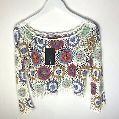 NWT Fashion Nova Floral Crochet Women's Open Knit Top, Size Small / Medium