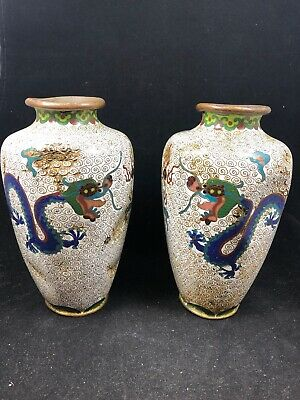 Pair Of Very Old Chinese Cloisonne Vases Antique 6.5""