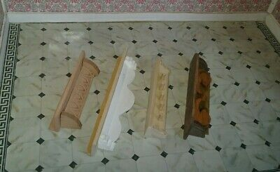 WOOD Wall SHELVES  Lot 4 Dollhouse Miniature natural & stained shelving/shelf c