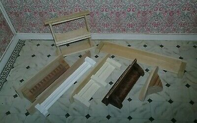 WOOD Wall SHELVES  Lot 7 Dollhouse Miniature natural shelving/shelf L