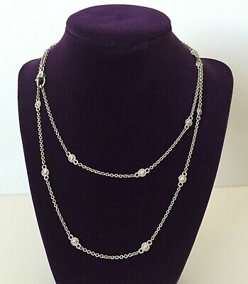 """Solid 925 Sterling Silver Diamonique 18K Gold Clad 24/"""" Pave/' Station Necklace ."""
