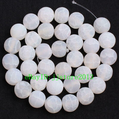10mm Frosted Natural Cracked White Agate Round Shape Gems Loose Beads Strand 15""