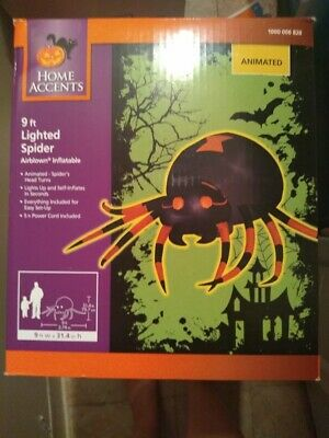 Halloween 9ft wide Animated Orange and Black Spider  Inflatable