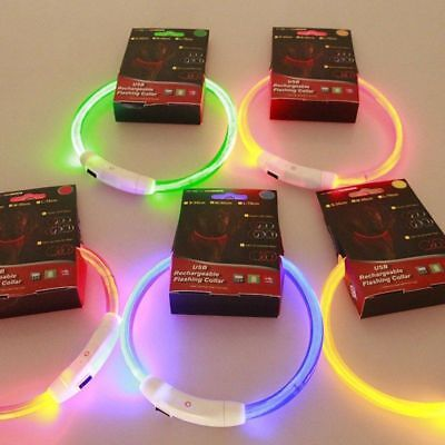 USB LED Rechargeable Pet Dog Collar Flashing Light Up Safety Belt Waterproof UP