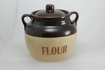 Monmouth Pottery Two Handle Flour Crock Pot USA Maple Leaf
