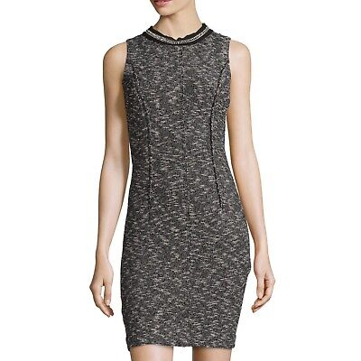 Rebecca Taylor Black/White Tweed Chain Detail  Sleeveless Dress Size 6 $495 B46