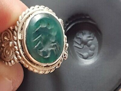 Stunning Extremely Rare Medieval Silver Seal Ring Superb Rare Stone.9.5 Gr.19 Mm