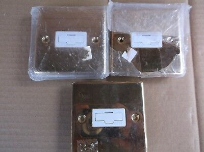 3x Click Deco Victorian Polished Brass Switches and Sockets with White Inserts